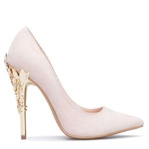 Esperanza Blush Pumps with Metallic Filigree Heel